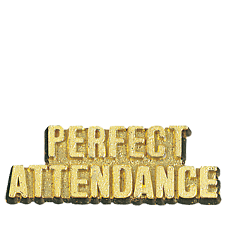 Gold Perfect Attendance Lapel Pin | School Lapel Pins | Cheap Sports